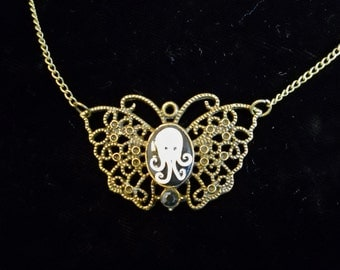 Butterfly Octopus Cameo Necklace