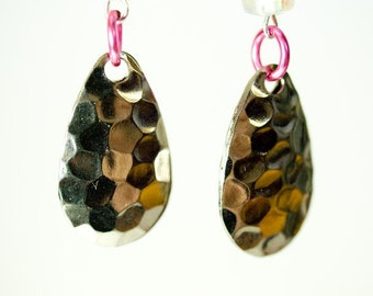 TICINA  sassy ear jewellery  silver plated hammered teardrops  ear dangles  surgical steel ear wires reflecting the sun fun