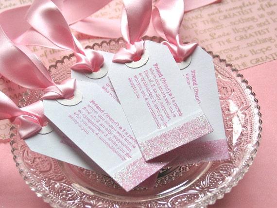 Bridesmaids Gift Tags, Wedding Gift Favor Tags, Pink, Set of 5