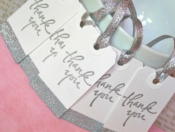 Bridesmaids Gift Tags, Wedding Favor Tags, Thank You Gift, Silver, Set of 5
