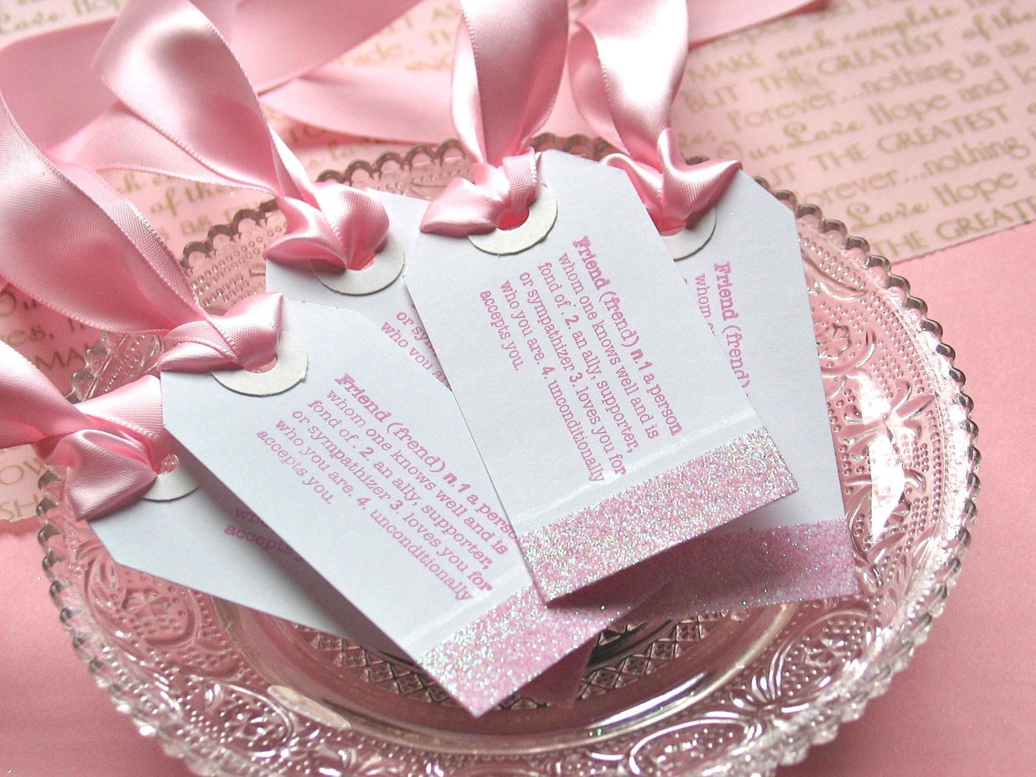 Bridesmaids Gift Tags Wedding Gift Favor Tags Pink Set of 5
