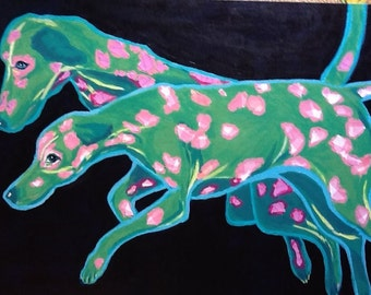 Two Pink and Green Dalmatians