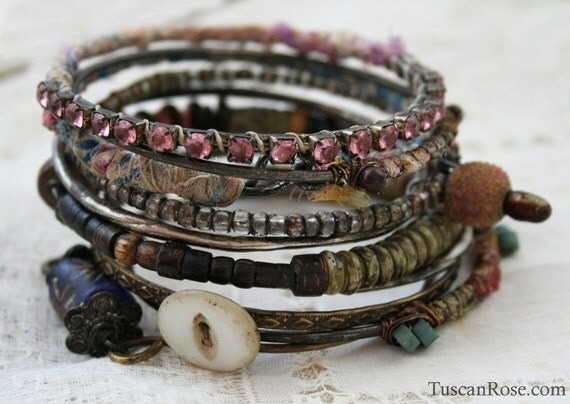 Bangle Stack 94 - set of 10 Bangles - urban gypsy bracelets