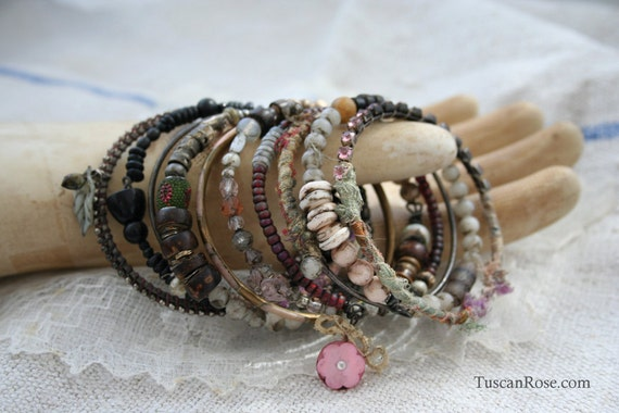 Bangle Stack 42 - set of 10 Bangles - urban gypsy bracelets
