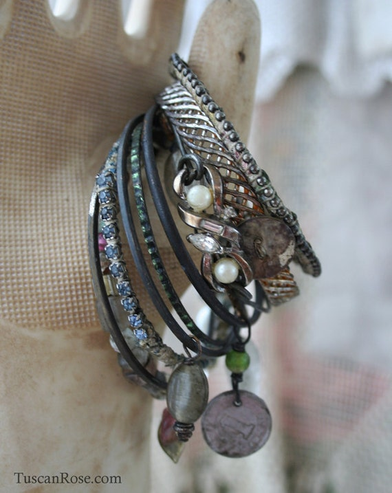 Bangle Stack set 695 - set of 10 Bangles - urban gypsy bracelets