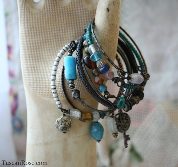 Ocean set 6 - Bangle Stack - set of 10 Bangles - mermaid gypsy bracelets