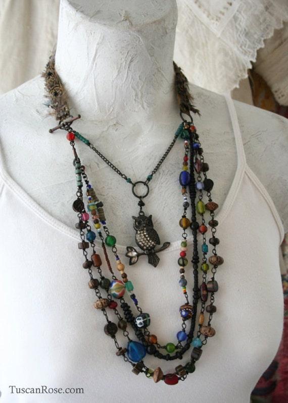 Necklace 318 - Woodland Owl Amulet jewelry - urban gypsy feather talisman