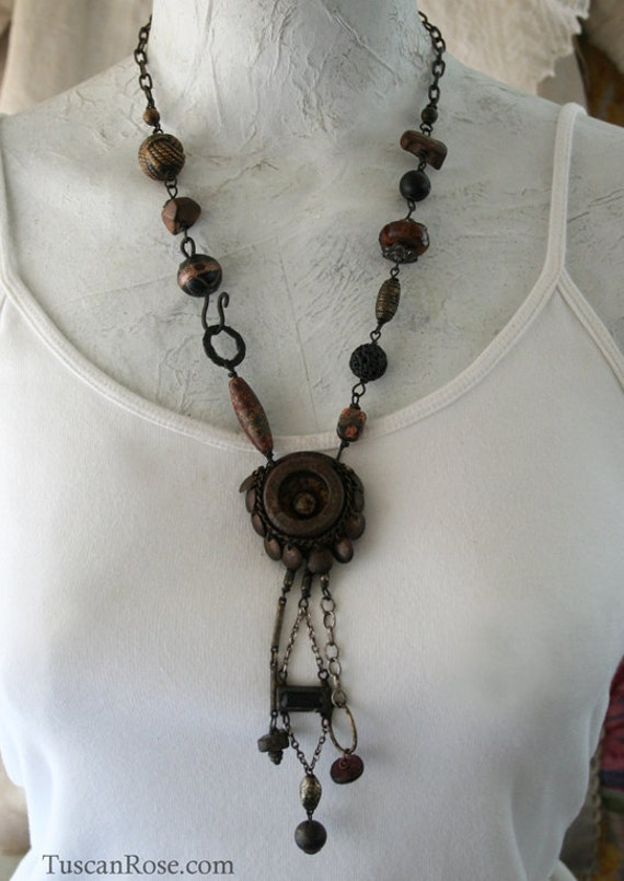 ON SALE - Summon - Talisman Necklace - urban gypsy Call Button salvage jewelry