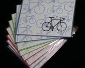 Bikes Card - Gocco print - Blue