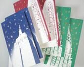 Christmas NYC Sky set of 6 small cards
