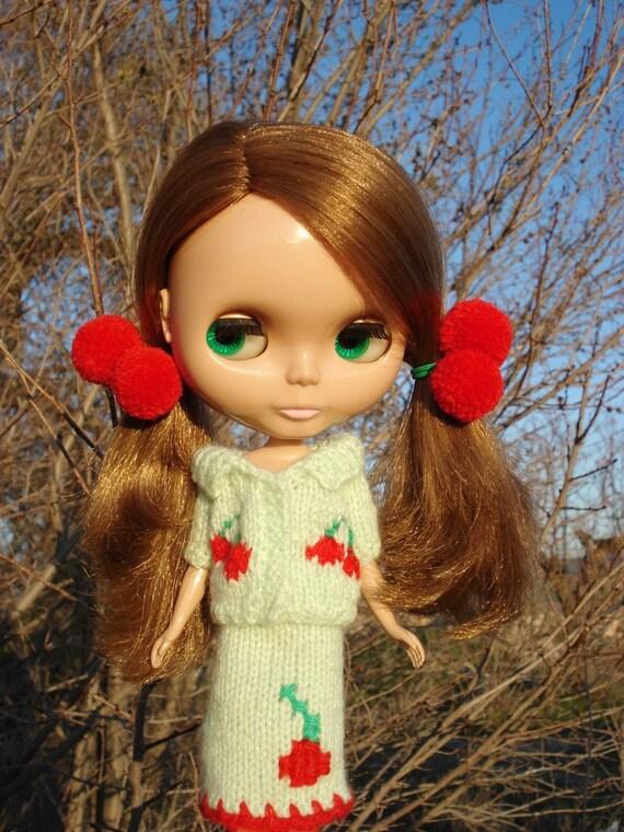 Sakura set and pompom hair ties OOAK