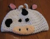 Cow Beanie Skullcap Hat--all sizes newborn through adult - cute photo prop