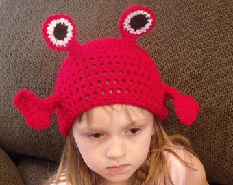 Mr Crab Beanie Skullcap Hat--cute photo prop-newborn through adult