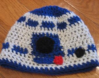 Droid R2D2 Crochet Beanie Skullcap Hat--cute photo prop or costume idea