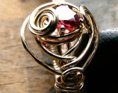 A Plus Natural Garnet Heart Ring Sculpted in Gold Fill