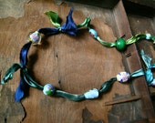Japanese Garden Vintage Bead Necklace on Hand Dyed Silk Ribbon