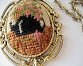 Needlepoint Mirrored Pendant