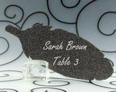 Feather Guest Cards Escort Cards Place Cards - Pack of 12 - Choose Your Color in Plain, Pearl Shimmer, and Glitter Paper