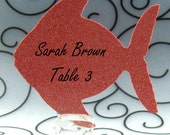Fish Guest Cards Escort Cards Place Cards Blank - Pack of 12 - Choose Your Color in Plain, Pearl Shimmer, and Glitter Paper