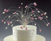 Spray Cake Topper - Pink and White on Silver - Wedding, Birthday, Anniversary Party SP4