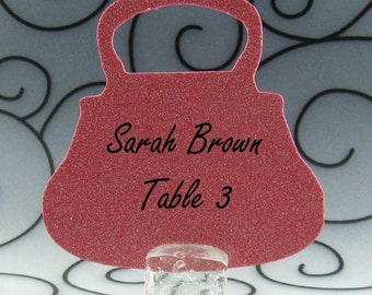 Purse Guest Cards Escort Cards Place Cards Blank - Pack of 12 - Choose Your Color in Plain, Pearl Shimmer, and Glitter Paper