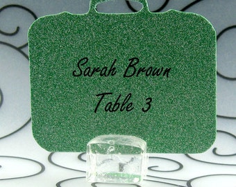 Suitcase Guest Cards Escort Cards Place Cards Blank - Pack of 12 - Choose Your Color in Plain, Pearl Shimmer, and Glitter Paper