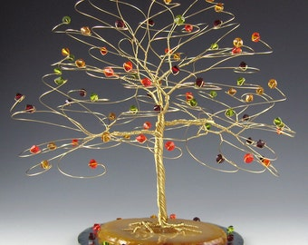 "Fall Tree Wedding Cake Topper with Swarovski Crystal Elements- 7"" x 7"" Xlg"