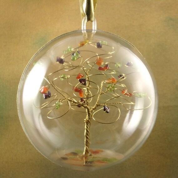 custom gemstone tree ornament with hook by byapryl on etsy