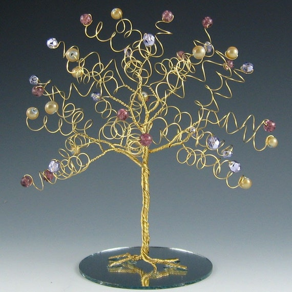 Wedding Cake Topper Tree Sculpture Purple and Gold