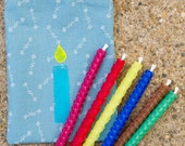 Rolled Beeswax Birthday Candles, Six Assorted Colors