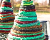Felted Wool Christmas Tree, Over-Dyed Green and Upcycled from Sweaters