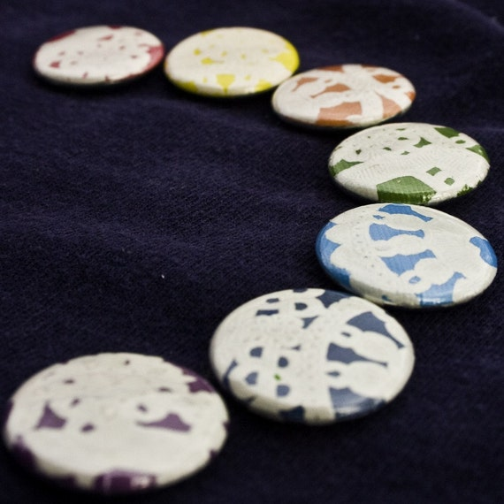 Vintage Paper Doily on a Rainbow One-Inch Pinback Buttons, set of 7 (seven)