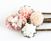 Bobby Pins Antique Brass With Vintage Style Flowers - Set of Four, Free Shipping