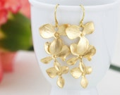 Gold Flower Dangle Earrings - Orchid Earrings, Bridal Earrings, Cascading, Sophisticated, Wedding Earringss, Gift For Woman, Valentines Gift