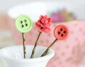 Hair Pins, Coral and Lime Green Button Bobby Pins,  Antique Brass, Gift  For Girl, Gift For Daughter, Hair Accessories, Gift For Woman