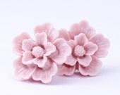 Free Shipping, Pale Pink Flower Earrings, Post Earrings, Floral Pink Earrings, Gift For Her