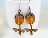 Bee Earrings, Golden Brown Amber Glass Beaded Earrings, Dangle Earrings