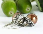 Acorn Earrings, Brown Pearls, Silver and Bronze, Fall Jewelry, Woodland Jewelry, Rustic Wedding, Autumn, Oak Tree, Gift For Mom