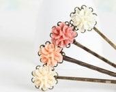 Vintage Style Flower Hair Pins in Peach and Cream - Flower Bobby Pins, Peach Pink Ivory, Wedding Hair Pins, Hair Accessories, Spring Fashion