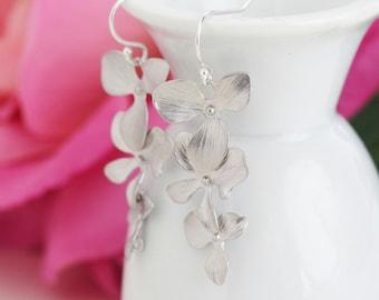 Silver Orchid Earrings, Flower Earrings, Cascading, Elegant Earrings, Silver Earrings, Gift For Woman, Mothers Day Gift