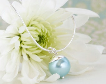 Sterling Silver Necklace - Pale Aqua Blue Pearl Necklace, Stunning Simplicity, Pearl Pendant, Girlfriend Gift, Gift For Woman