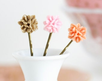 Bobby Pins Antique Brass With Vintage Style Pink, Peach and Beige Flowers, Gift  For Girl