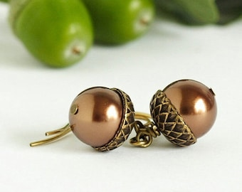 Acorn Earrings - Bronze Pearls - Nature Earrings - Dangle Earrings - Woodland Jewelry - Rustic Jewelry  - Autumn Earrings - Acorn Jewelry