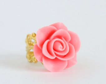 Vintage Style Pink Flower Ring, Gold Plated Adjustable Filigree Ring With Shocking Pink Flower, Stocking Stuffer, Gift For Woman