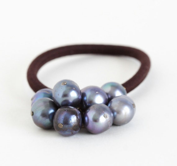 Grey Pearl Beads: Beaded Hair Elastic With Blue Grey Pearl Beads Ponytail