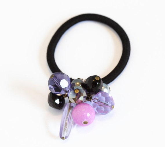Beaded Hair Elastic - Lilac and Black - Hair Accessory, Gift  For Girl