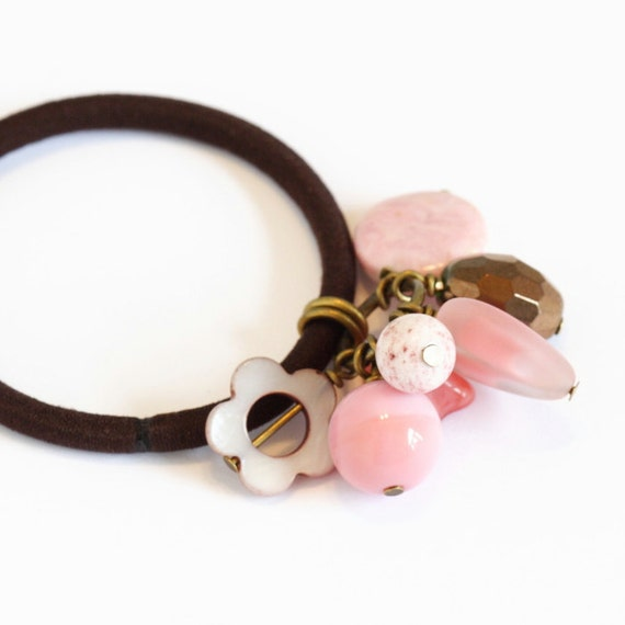 Beaded Hair Elastic, Pink Brown Glass Beads, Gorgeous Combo, Gift  For Girl