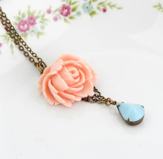 Free Shipping - Statement Necklace, Feminine Rose Necklace - Turquoise Peach Necklace - Wedding Necklace - Garden Wedding, Mother's Day Gift