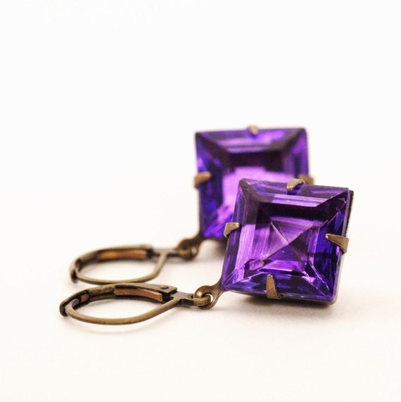 Black Friday Etsy 25% off, Jewel Earrings - Purple Vintage Glass Jewel Earrings Diamonds
