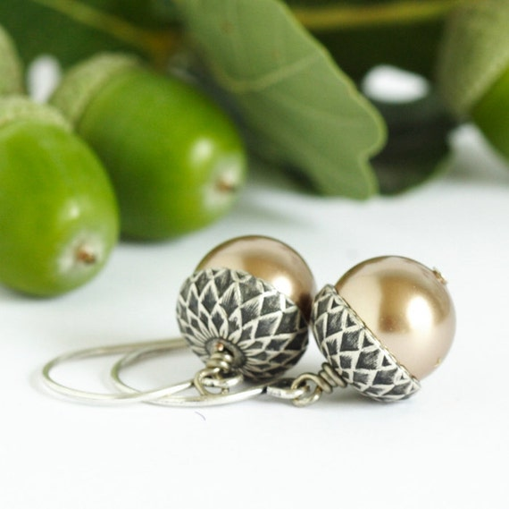 Acorn Earrings, Silver and Pale bronze, Dangle Earrings, Woodland Jewelry, Rustic, Autumn, Acorn Jewelry, Gift For Mom, Gift For Woman